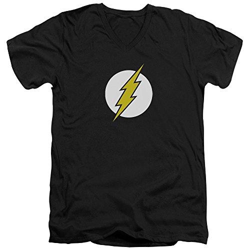 Dc-Maglietta da uomo con collo a V, Logo di Flash Nero