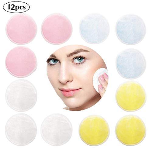 Abschminkpads Waschbar, Wattepads Wiederverwendbar, Makeup Entferner Pads 12 Stück, Bambus-Baumwoll-Abschminkpads, Waschbarer dreischichtiger Make-up-Entferner -