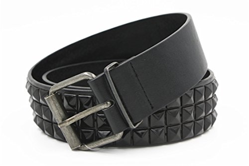 Remache Cinturón Hombres Mujeres Cinturón Tachonado Punk Rock Con Hebilla De Pasador Black Belt 115Cm
