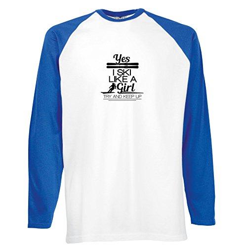 Brand88 - I Ski Like a Girl, Langarm Baseball T-Shirt Weiss & Blau