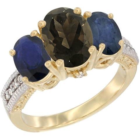 Revoni–Orecchini, in oro giallo 9kt, pietre e diamante 3pietra anello, ovale Smoky Topaz e zaffiro blu taglia