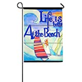 Dozili Flagge Life is Better at The Beach, Dekoration für den Garten, wetterfest und doppelseitig, Polyester, bunt, 12.5' x 18'