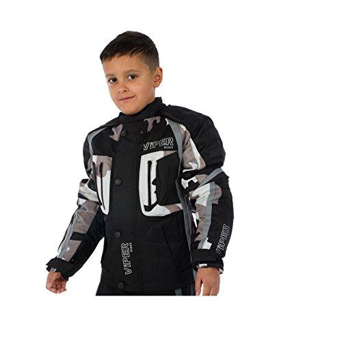 Motorradjacke für Kinder VIPER DRACO CE Rüstung Textiljacke Schwarz/Grau (12-13 Jahre)