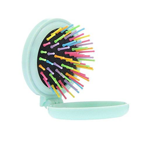Demarkt Mini runder Klappkamm mit Luftkissen Haarmassagekamm Bürste Spiegel (Grün) - Spiegel Mini-haarbürste Und