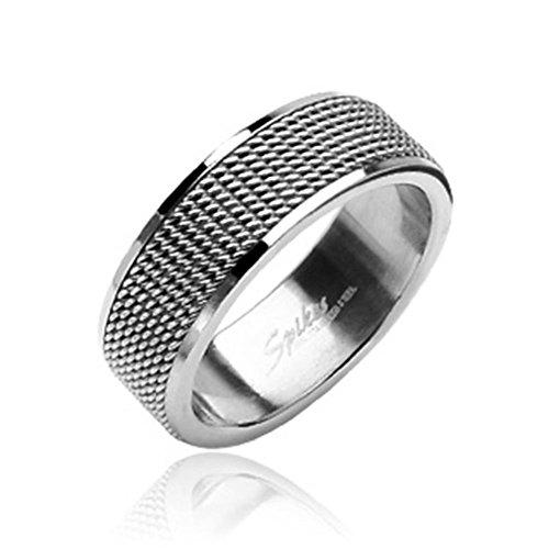 Paula & Fritz anello in rete di acciaio inossidabile 316L argento 8mm larghezza disponibile in rößen 47(15)-69(22) R8004, acciaio inossidabile, 70 (22.3), colore: silver, cod. R8004_130