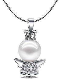 El infinito U 925 de plata de ley circonita cúbica perlas de alas de ángel-colgante collar para mujer/chica