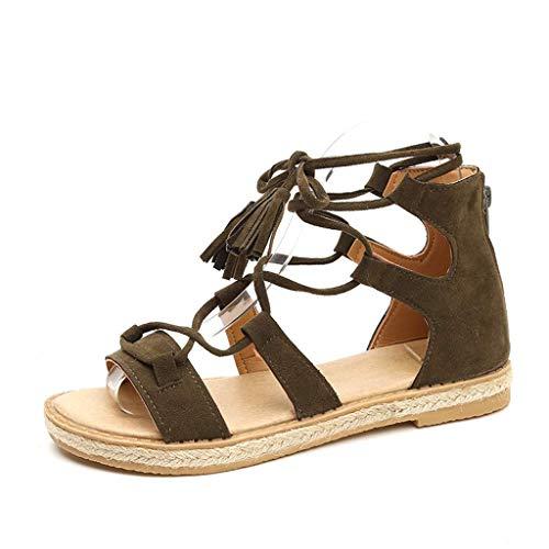 HILOTU Sandali Piatti Gladiatore per Donna Casual Sandali Aperti alla Caviglia con Cinturino alla Caviglia (Color : Verde, Size : 39 EU)