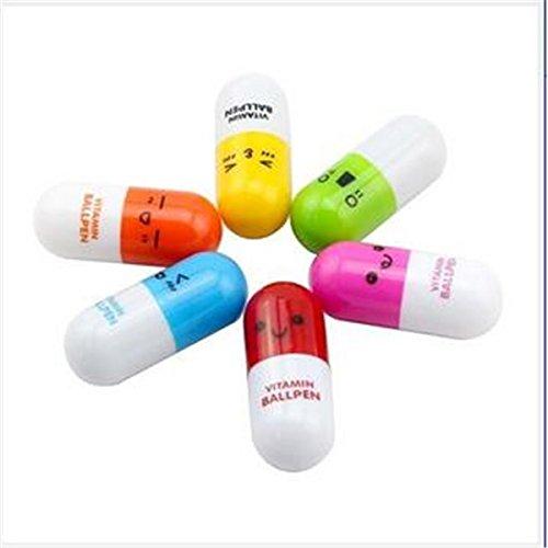 Ausziehbarem Mini Vitamin Pille Stift mit sechs niedliche Emoticons Neuheit Kapsel Kugelschreiber Favor Geschenk (zufällige Farbe x 6)