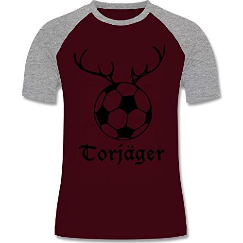 Shirtracer Fußball - Torjäger - Herren Baseball Shirt Burgundrot/Grau  meliert