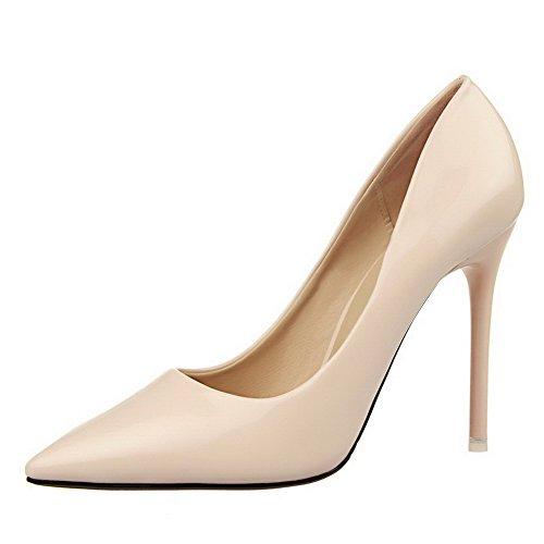 AalarDom Femme Tire Pointu Stylet Couleur Unie Chaussures Légeres Nu