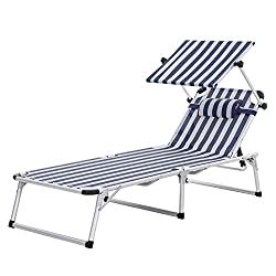 SONGMICS Aluminium Sun Lounger, Folding Sunbed, 193 x 67 x 32 cm, 250 kg Max. Static Load, Rust-resistant, with Breathable Synthetic Fabric, Removable Pillow, Adjustable Sunshade GCB19BU
