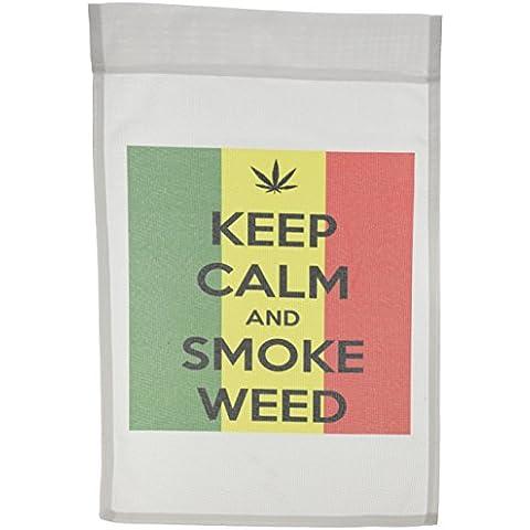 3dRose FL _ 149836_ 1Keep Calm And Smoke Weed Marijuana Pot giardino Bandiera, 12da 18pollici - Marijuana Weed Pot
