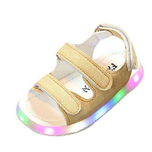 FNKDOR Kinder Baby Schuhe mit Licht Jungen Mädchen Sandalen LED Leuchtschuhe (26, Gelb)