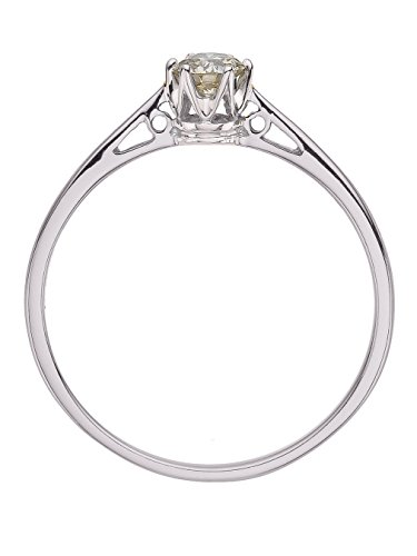 diamond solitaire ring with 1/4ct natural diamond (9ct White Gold, O)