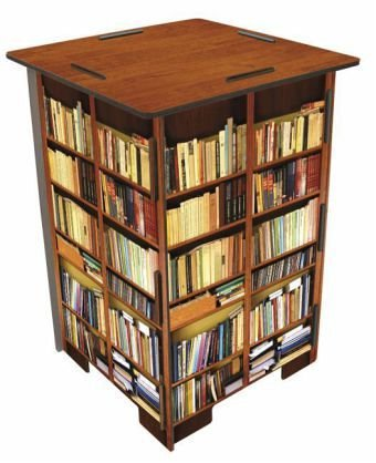Werkhaus SH8244 Photohocker Motiv Bücherregal Hocker, Holz, bunt, 29.5 x 29.5 x 42 cm