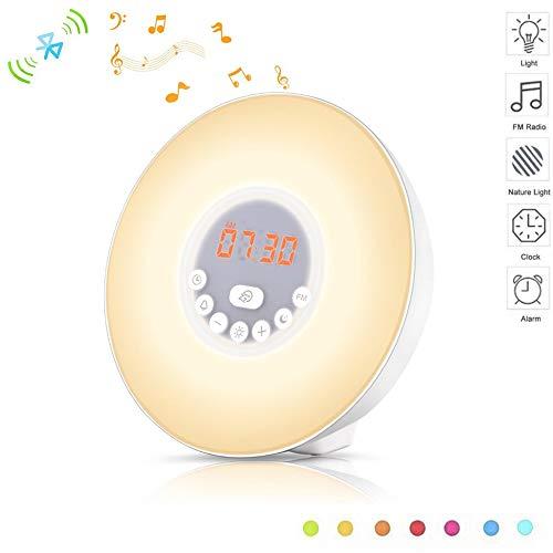ZENWEN Bluetooth-Lautsprecher Multifunktion mit Wake-Up Light Uhr elektronische Digitaluhr Multifunktions Radiowecker Desktop Portable Stereo-Lautsprecher, UKW-Radio, schläfrig-Funktion (weiß)