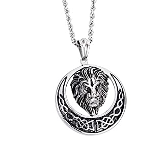 Daesar Stainless Steel Necklace Pendant for Men Lion Head Round Necklace Silver Black