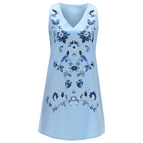 HDUFGJ Damen Leinen Kleider Shirt V-Ausschnitt gedruckt Sexy Strandkleider Sieben-Viertel-Ärmel Casual Mini Kleid XL(Blau)