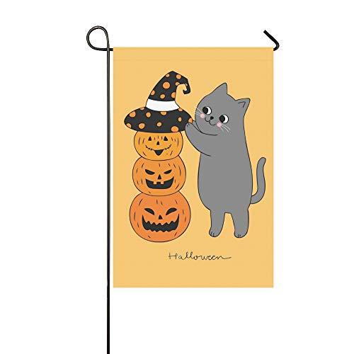 JOCHUAN Wohnkultur Cartoon Nette Halloween Katze Hut Kürbis Garten Flaghouse Yard Flaggarden Yard Decorationsseasonal Willkommen Outdoor Flagge 12X18 Zoll (Katze-zeichnung Schwarze Halloween)