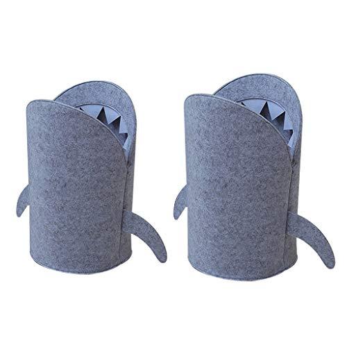 PETSOLA 2 Stücke Haifischförmige Filz Tuch Falten Wäschekorb Korb, Kid Spielzeug Aufbewahrungstasche Für Heimwerker, L + S -