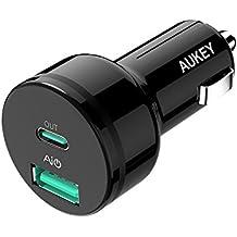 AUKEY USB C Cargador de Coche con Power Delivery, Doble Salida Puerto 36W Adaptador de Coche para Samsung Galaxy S8 / S8+, LG G5 / G6, Nexus 5X / 6 / 6P, iPhone X / 8 Plus / 8 / 7 y Más