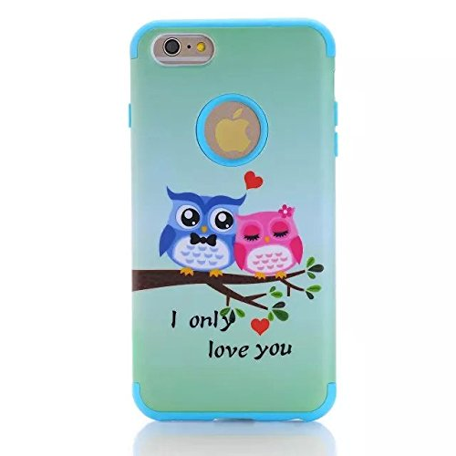 iPhone 6 Plus Case,Lantier [3 Pieces High Impact Hybrid Shockproof Durable]I Love You Owls 3 in 1 Silicone PC Tough Rugged Armor Combo Back Cover for Apple iPhone Plus 6 5.5 inch/white ILove You OwlsLOVE/Black