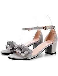 dfb Sra. Zapatillas De Punta Abierta Corea La Moda Con Los Tacones Finos Sandalias Y Zapatillas Cuero Pelo De Caballo Zapatillas De Descanso Zapatillas Para Las Mujeres,Black-35