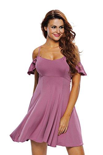 Damen Schulterfrei Rückenfrei Sommerkleider Sexy Kurz Skaterkleid Minikleid Trägerkleid Violett
