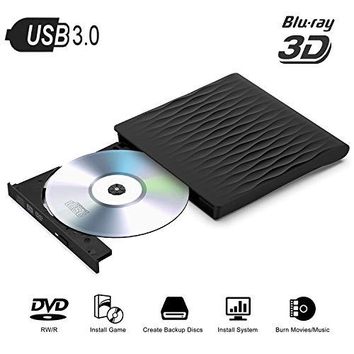 Fancartuk External Blu ray Drive, USB 3 0 3D DVD CD Blu-ray Drive DVD Disc  Burner for WIN98/ME/2000/XP, VISATA, WIN7, WIN8, MAC OS8 6