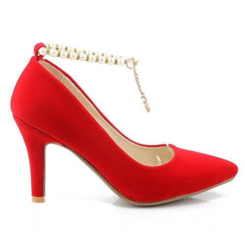 AgooLar Damen Stiletto Rein Schnalle Spitz Zehe Pumps Schuhe Rot