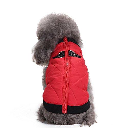 SELMAI Warmer Hundemantel, wasserdicht, für kleine Hunde und Katzen, wattiert, Hundegeschirr integriert, weich, Kälteschutz, mit Reißverschluss, Hundebekleidung - Mit Reißverschluss An Der Rückseite-jumper