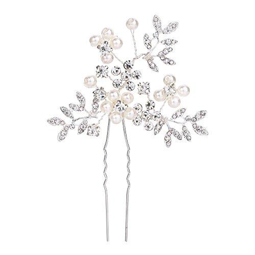 Clearine Damen Hochzeit Braut Creme Künstliche Perlen Kristall Filigran Blatt Haarnadeln Klar Silber-Ton