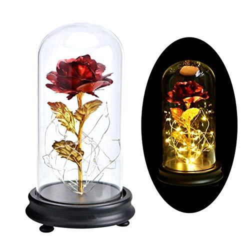 Urmagic 24K Vergoldet Die Schöne und das Biest Rosen-Set,Rote mit LED Lichterkette, einige abgefallene Blütenblätter, Schön Unechte Blumen,Verzauberte Rose Set mit Beleuchtung in einer Glaskuppel
