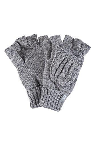 Ladies 1 Pair Heat Holders 2 3 Tog Heatweaver Yarn Fingerless Gloves with  Converter Mitt Light Grey