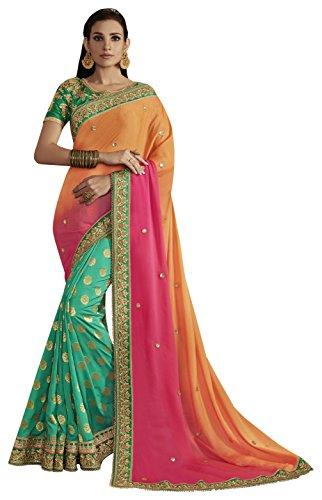Nakkashi Women's Jacquard Saree (Green and Orange)