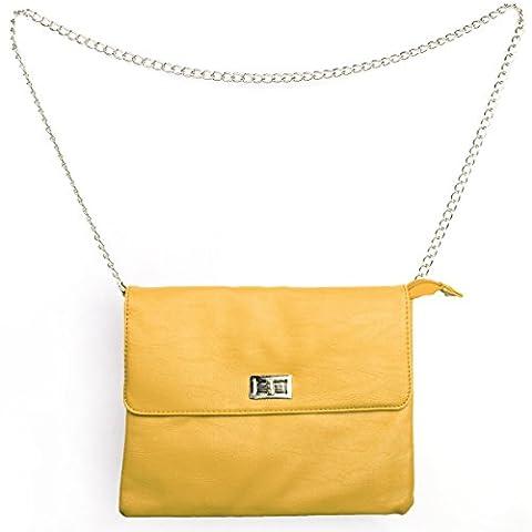 Damen Leder Umhängetasche Kosmetiktasche Ledertasche Handtasche inkl. Tragekette mit Reißverschluss und Drehknopfverschluss (Gelb)