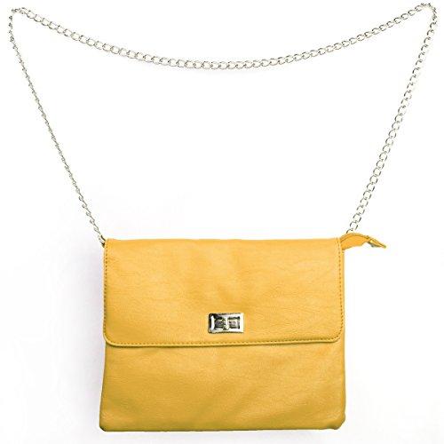 Monte Lovis, Borsa a tracolla donna beige clutch giallo