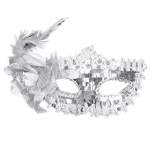 Damen Maskerade Maske Pailletten Augenmaske für Frauen Maskenball Masquerade Karneval Party (Silber)