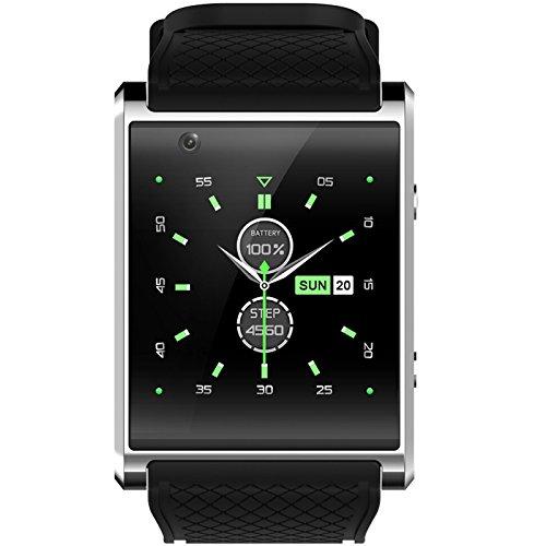 Reloj Inteligente Wilabuda Cuerpo Impermeable Dial Cuadrado Android WiFi Posicionamiento GPS Llamada Asistente de Salud cámara Frontal Bluetooth Deportes Pulsera, Negro