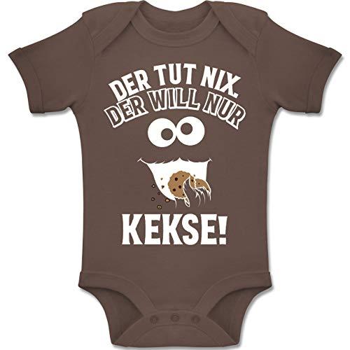Shirtracer Sprüche Baby - Der TUT nix. Der Will nur Kekse! - 3-6 Monate - Braun - BZ10 - Baby Body Kurzarm Jungen Mädchen