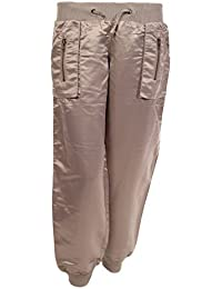 b374c10fbfc2 Womens Ladies Satin Silky Low Rise Casual Trousers Stretch Shiny Pants  Harem Style Size 8 10