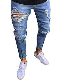 Winwintom 2018 Pantalons pour Hommes Trou Zip Jeans Slim Biker Fermeture  éClair Jeans Maigre Pantalon DéChiré d636c9d54af