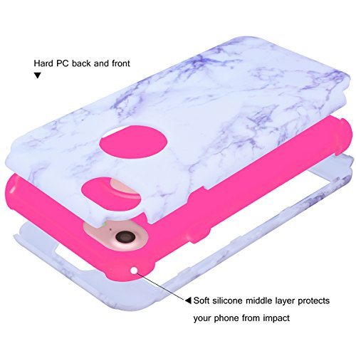 WE LOVE CASE iPhone 7 / iPhone 8 Cover Marmo 360-Grad All Inclusive Full Screen Protection Anti-Drop iPhone 7 / iPhone 8 4,7 Custodia Rose Oro Cassa Duro del PC di Plastica e Silicone Morbido Inter P Pink
