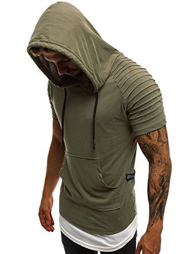OZONEE Mix Herren Tanktop Shirt Tankshirt T-Shirt Kapuzenpullover Unterhemden Ärmellos Muskelshirt Fitness Sommer Basic Kurzarm A/1186 GRÜN M