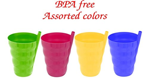Green Direct Cup With Straw 10 Oz Plastic Cup with Built in Straw for Kids Assorted Colors by Green Direct