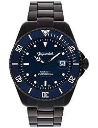 Gigandet SEA GROUND - montre sport plongée 300m automatique noire/bleue - homme/femme - cadran bleu - avec indication de date et bracelet en acier inoxydable - G2-013
