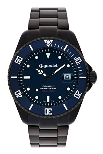 Gigandet SEA GROUND – Sports Diving 300 m Automatic watch black/blue – Women's/Men's – Blue Dial – with Date Display and Stainless Steel Bracelet – G2-013