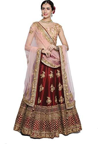 jinnar Women\'s Taffeta Satin Semi-Stitched Lehenga Choli (Keshi-Red_Free Size)