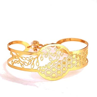 Bracelet manchette ciselé. Doré à l'Or fin.