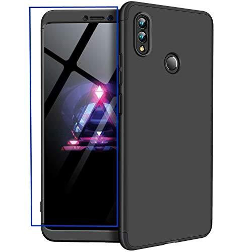 AILZH Huawei Honor Note 10 Hülle+Gehärteter Glasfilm 360 Grad HandyHülle PC Hartschale Anti-Schock Schutzhülle Anti-Kratz Stoßfänger Bumper 360° Cover Case matt Schutzkasten(Schwarz)